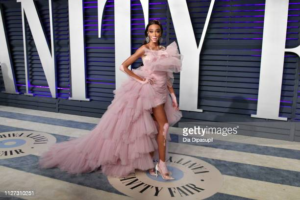Winnie Harlow attends the 2019 Vanity Fair Oscar Party hosted by Radhika Jones at Wallis Annenberg Center for the Performing Arts on February 24 2019...