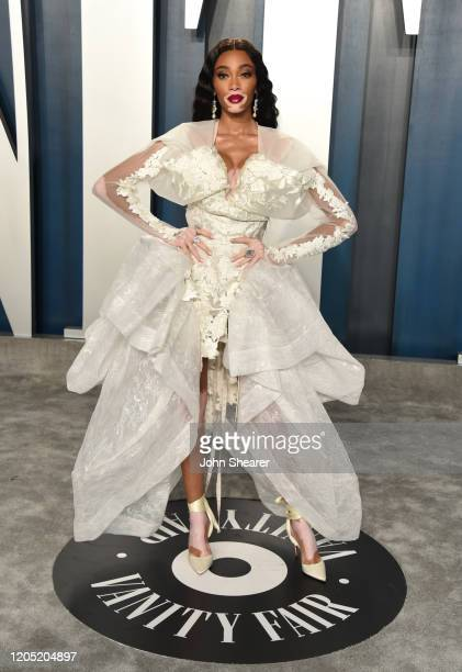 Winnie Harlow attends the 2020 Vanity Fair Oscar Party hosted by Radhika Jones at Wallis Annenberg Center for the Performing Arts on February 09,...