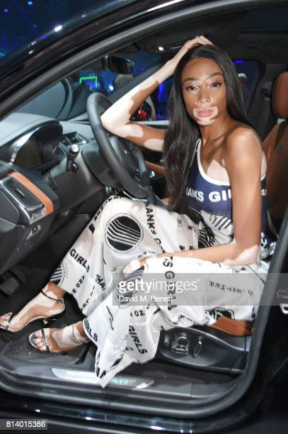 Winnie Harlow attends the allnew Jaguar EPace reveal at ExCel on July 13 2017 in London England Jaguar's newest model was launched with an epic...