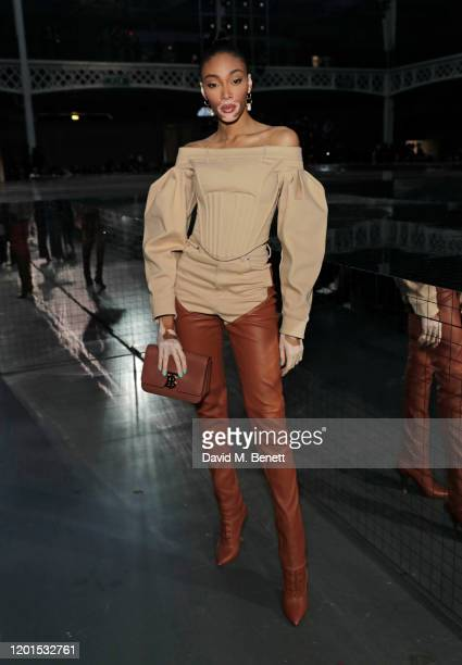 Winnie Harlow attends the Burberry Autumn/Winter 2020 show during London Fashion Week at Kensington Olympia on February 17 2020 in London England
