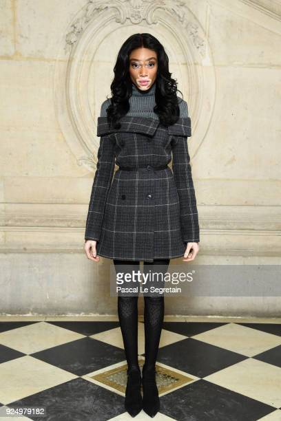 Winnie Harlow attends the Christian Dior show as part of the Paris Fashion Week Womenswear Fall/Winter 2018/2019 on February 27 2018 in Paris France