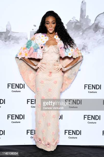 Winnie Harlow attends the Cocktail at Fendi Couture Fall Winter 2019/2020 on July 04, 2019 in Rome, Italy.