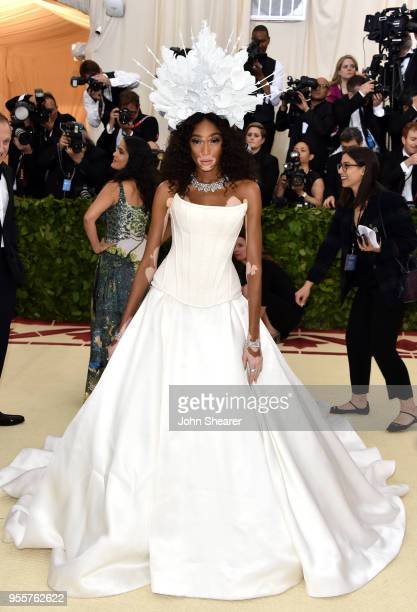 Winnie Harlow attends the Heavenly Bodies Fashion The Catholic Imagination Costume Institute Gala at The Metropolitan Museum of Art on May 7 2018 in...