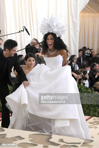 Winnie Harlow attends the Heavenly Bodies: Fashion & The Catholic Imagination Costume Institute Gala at The Metropolitan Museum of Art on May 7, 2018...