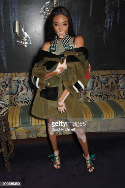 Winnie Harlow attends the LOVE and MIU MIU Women's Tales Party at Loulou's on February 19 2018 in London England