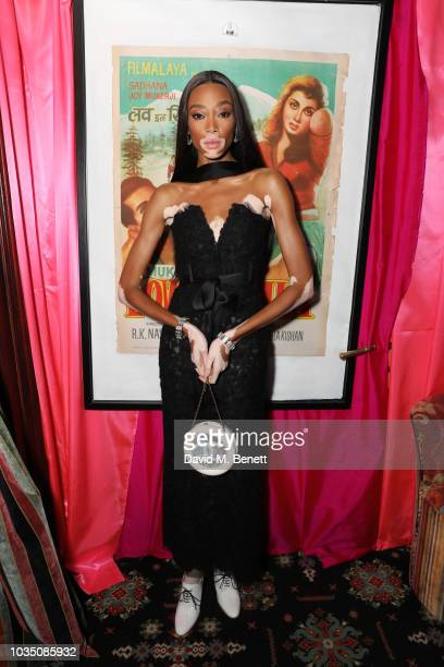Winnie Harlow attends the LOVE Magazine 10th birthday party with PerrierJouet at Loulou's on September 17 2018 in London England