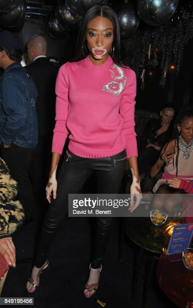 Winnie Harlow attends the LOVE magazine x Miu Miu party held during London Fashion Week at Loulou's on September 18 2017 in London England