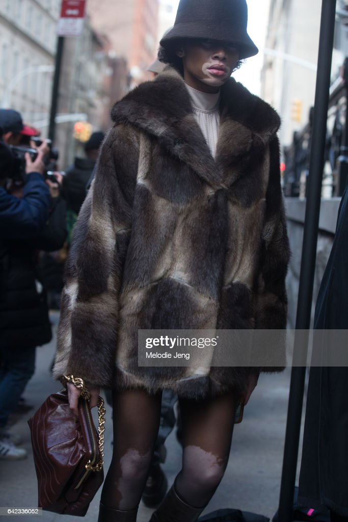 Winnie Harlow attends the Marc Jacobs show on the street on February 17, 2017 in New York City.