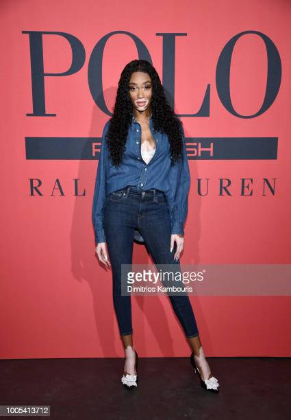 Winnie Harlow attends the Polo Red Rush Launch Party with Ansel Elgort at Classic Car Club Manhattan on July 25, 2018 in New York City.