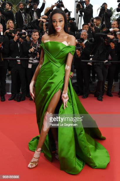 Winnie Harlow attends the screening of 'BlacKkKlansman' during the 71st annual Cannes Film Festival at Palais des Festivals on May 14 2018 in Cannes...