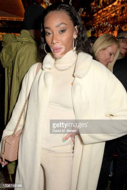 Winnie Harlow attends the TOMMYNOW after party at Annabels on February 16 2020 in London England
