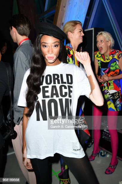 Winnie Harlow backstage at Fashion for Relief Cannes 2018 during the 71st annual Cannes Film Festival at Aeroport Cannes Mandelieu on May 13 2018 in...