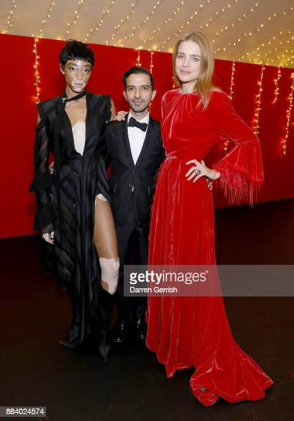 Winnie Harlow Imran Amed and Natalia Vodianova attend the gala dinner during #BoFVOICES on December 1 2017 in Oxfordshire England