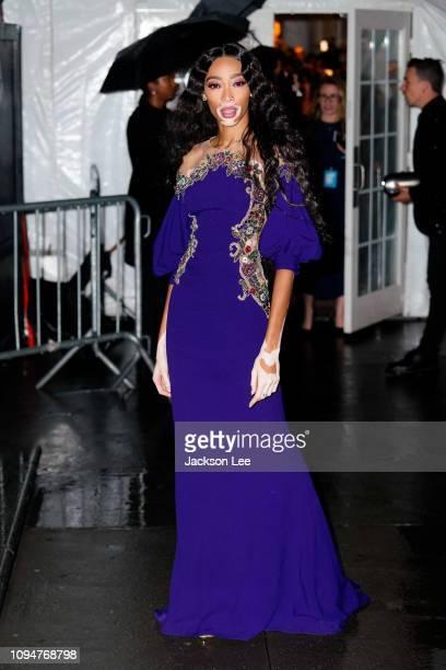 Winnie Harlow is seen at amFAR gala on February 6 2019 in New York City