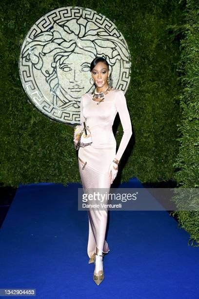 Winnie Harlow is seen on the front row of the Versace special event during the Milan Fashion Week - Spring / Summer 2022 on September 26, 2021 in...
