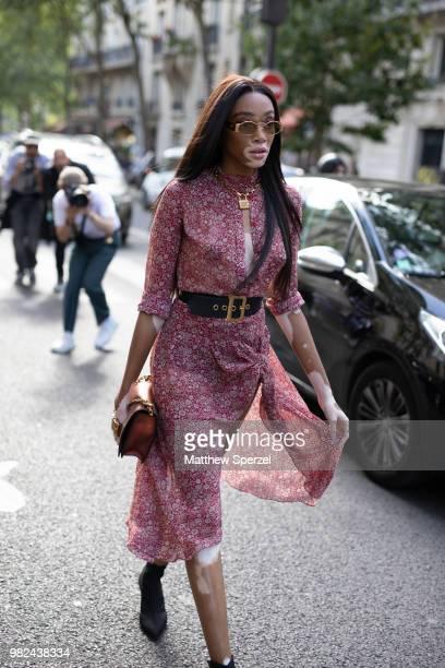 Winnie Harlow is seen on the street during Paris Men's Fashion Week S/S 2019 wearing Dior on June 23 2018 in Paris France