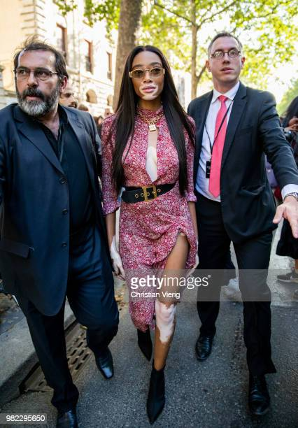 Winnie Harlow is seen outside Dior Homme on day five of Paris Fashion Week Menswear SS19 on June 23 2018 in Paris France