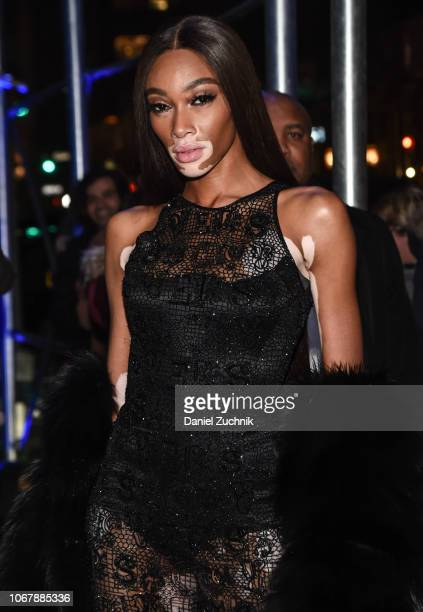 Winnie Harlow is seen wearing a black sheer Versace dress outside the Versace PreFall 2019 Collection on December 2 2018 in New York City