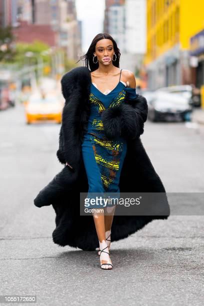 Winnie Harlow is seen wearing Cushnie in Midtown on October 29 2018 in New York City