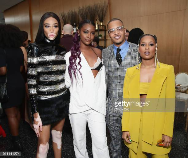 Winnie Harlow Justine Skye TI and Dej Loaf attend Roc Nation THE BRUNCH at One World Observatory on January 27 2018 in New York City