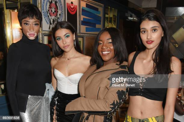 Winnie Harlow Madison Beer Ray BLK and Neelam Gill attend the Wonderland Summer Issue dinner hosted by Madison Beer at The Ivy Soho Brasserie on June...