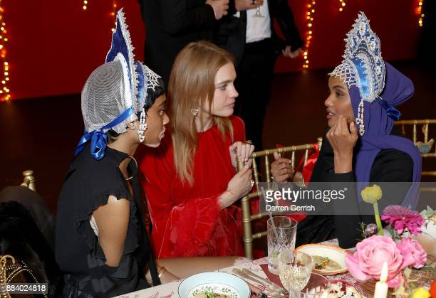 Winnie Harlow Natalia Vodianova and Halima Aden attend the gala dinner during #BoFVOICES on December 1 2017 in Oxfordshire England