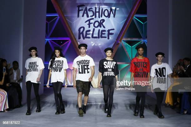 Winnie Harlow Neelam Gill Aissa Maiga and models walk the Runway at Fashion for Relief Cannes 2018 during the 71st annual Cannes Film Festival at...