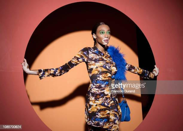 Winnie Harlow poses Backstage prior the Kenzo Menswear Fall/Winter 20192020 show as part of Paris Fashion Week on January 20 2019 in Paris France
