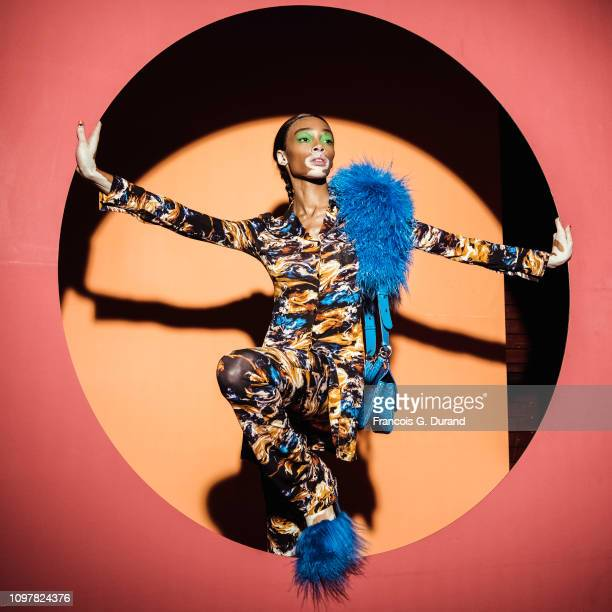 Winnie Harlow poses Backstage prior the Kenzo Menswear Fall/Winter 2019-2020 show as part of Paris Fashion Week on January 20, 2019 in Paris, France.
