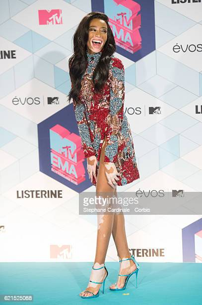 Winnie Harlow poses in the Winner's room award at the MTV Europe Music Awards 2016 on November 6 2016 in Rotterdam Netherlands