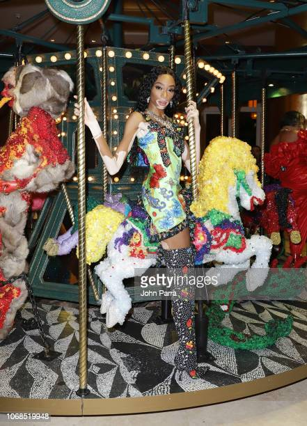 Winnie Harlow poses infront of art work by Raul De Nieves presented by Bvlgari Art Production Fund during Art Basel Miami Beach 2018 at Faena Hotel...