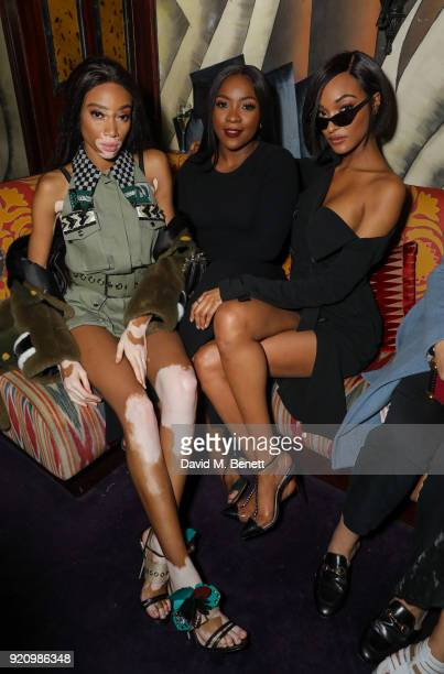 Winnie Harlow Ray BLK and Jourdan Dunn at LOVE and MIU MIU Women's Tales Party at Loulou's on February 19 2018 in London England