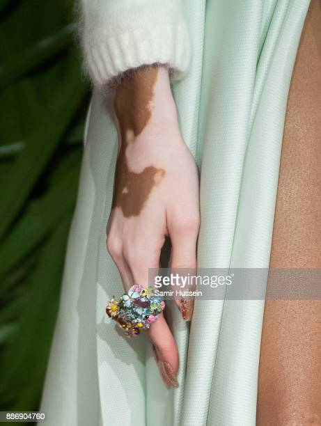Winnie Harlow ring detail attends The Fashion Awards 2017 in partnership with Swarovski at Royal Albert Hall on December 4 2017 in London England