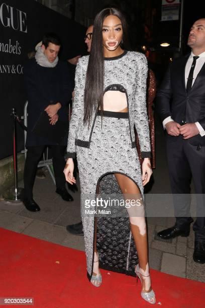 Winnie Harlow seen at the Vogue and Tiffany Co party at Annabel's club after attending the EE British Academy Film Awards at the Royal Albert Hall on...