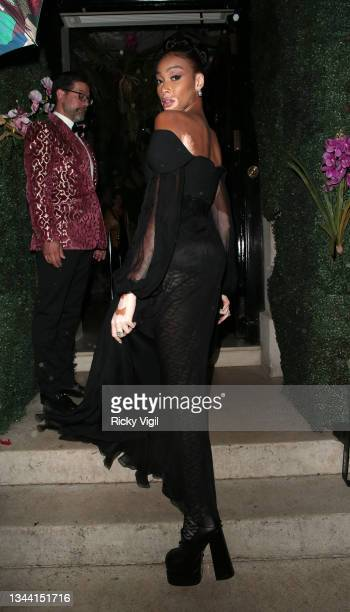 Winnie Harlow seen attending Annabel's For The Amazon, a fundraising event at Annabel's to plant one million trees in the Amazon rainforest, in...
