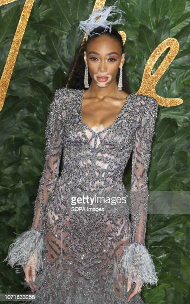 Winnie Harlow seen on the red carpet during the Fashion Awards 2018 at the Royal Albert Hall Kensington in London
