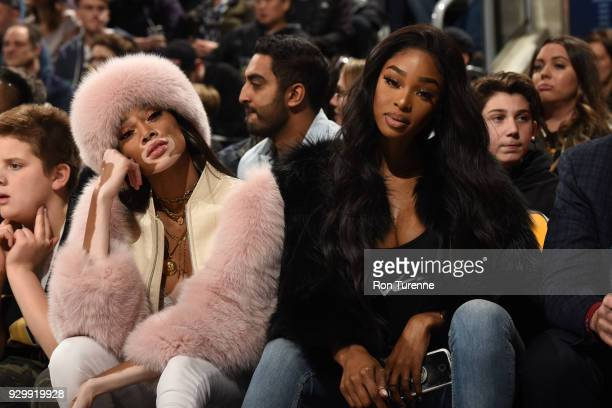 Winnie Harlow sits courtside at the Houston Rockets v Toronto Raptors game on March 9 2018 at the Air Canada Centre in Toronto Ontario Canada NOTE TO...