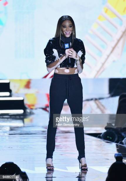 Winnie Harlow speaks onstage at WE Day California at The Forum on April 19 2018 in Inglewood California