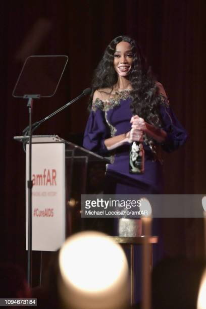 Winnie Harlow speaks onstage during the amfAR New York Gala 2019 at Cipriani Wall Street on February 6 2019 in New York City