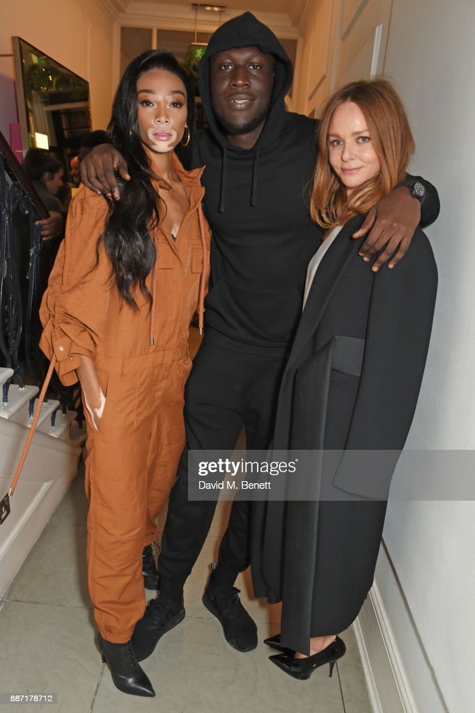 Winnie Harlow, Stormzy and Stella McCartney attend the Stella McCartney Christmas Lights 2017 party on December 6, 2017 in London, England.
