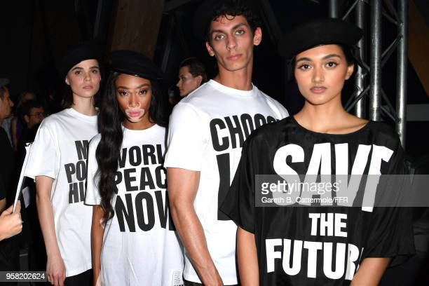 Winnie Harlow Tarek El Seidik and Neelam Gill pose backstage at Fashion for Relief Cannes 2018 during the 71st annual Cannes Film Festival at...
