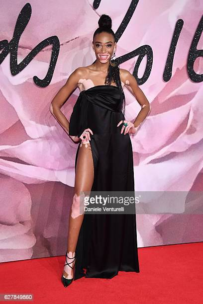 Winnie Harlow walks the red carpet for the British Fashion Awards 2016 on December 5 2016 in London England