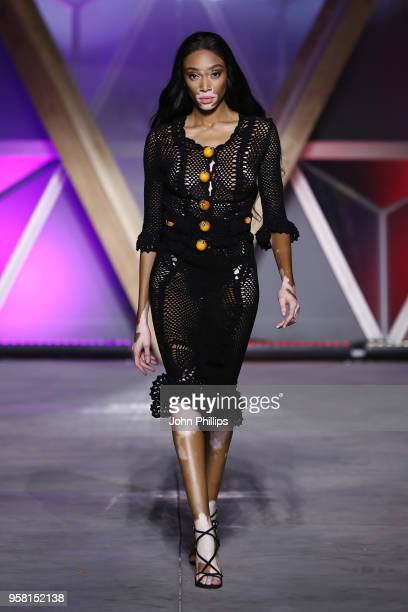 Winnie Harlow walks the Runway at Fashion for Relief Cannes 2018 during the 71st annual Cannes Film Festival at Aeroport Cannes Mandelieu on May 13,...
