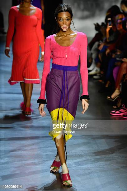 Winnie Harlow walks the runway at Prabal Gurung show during New York Fashion Week The Shows at Gallery I at Spring Studios on September 9 2018 in New...