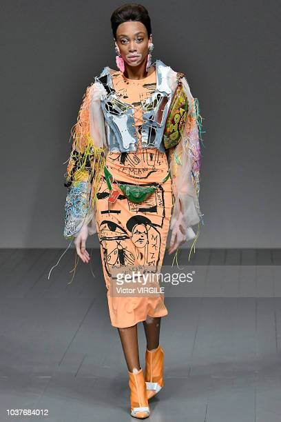 Winnie Harlow walks the runway at the Matty Bovan Ready to Wear Spring/Summer 2019 fashion show during London Fashion Week September 2018 on...