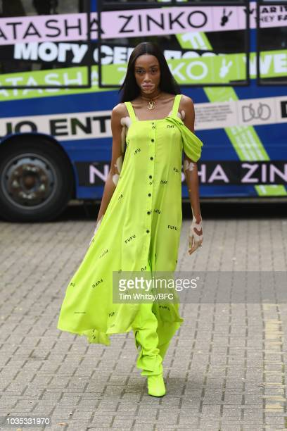 A model walks the runway at the Natasha Zinko show during London Fashion Week September 2018 on September 18 2018 in London England