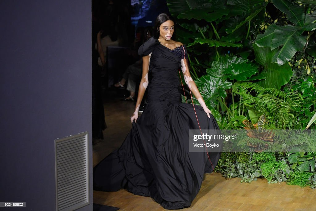 Winnie Harlow walks the runway at the Vionnet show during Milan Fashion Week Fall/Winter 2018/19 on February 23, 2018 in Milan, Italy.