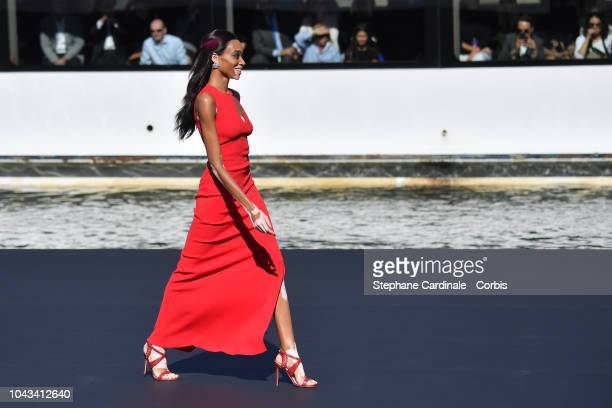 Winnie Harlow walks the runway during Le Defile L'Oreal Paris as part of Paris Fashion Week Womenswear Spring/Summer 2019 on September 30 2018 in...
