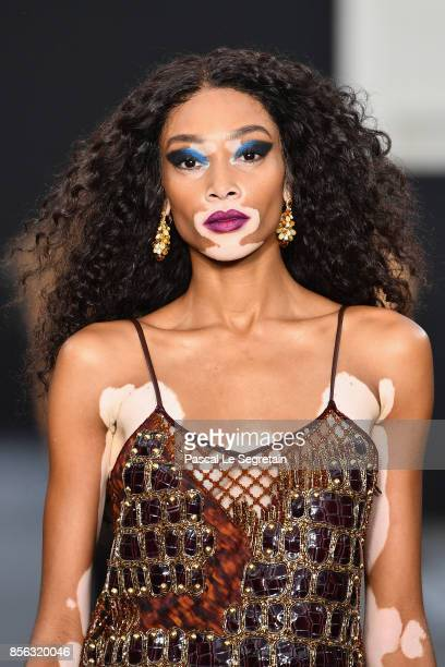 Winnie Harlow walks the runway during Le Defile L'Oreal Paris as part of Paris Fashion Week Womenswear Spring/Summer 2018 at Avenue Des Champs...