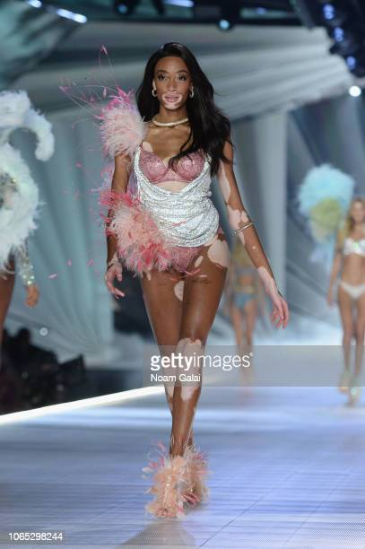 Winnie Harlow walks the runway during the 2018 Victoria's Secret Fashion Show at Pier 94 on November 08 2018 in New York City